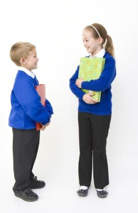 children in school uniforms