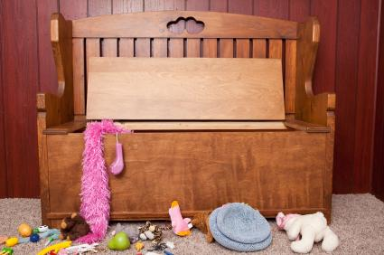 wooden toy box with seating