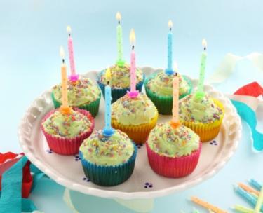 Eight birthday cupcakes; Copyright Jabiru at Dreamstime.com