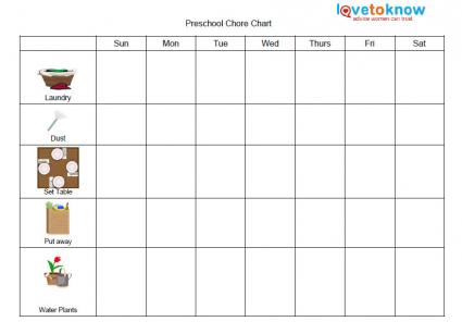 Kids Chart. Preschool Chore Chart Printable Chore Charts For Kids