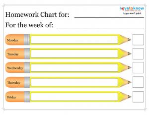 pencil printable homework chart