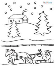 Winter Sleigh Ride coloring page