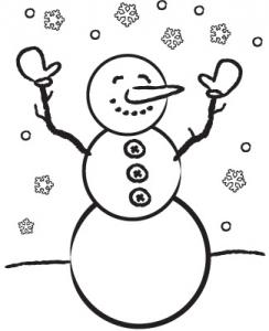 Printable Winter Coloring Page snowman new