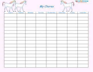 Printable Chore Lists Lovetoknow