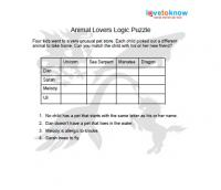 Printables Logic Puzzles Worksheets printable logic puzzles for kids animal lovers puzzle