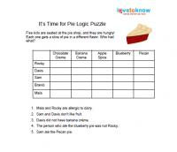 Worksheets Logic Problems Worksheets printable logic puzzles for kids its time pie puzzle