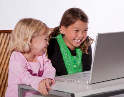Kids laughing at video