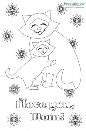 Kitty hugs printable card