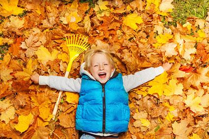 preschooler laying in autumn leaves