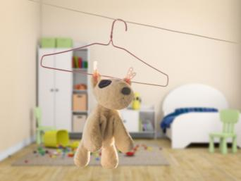 Toy on clothes hanger