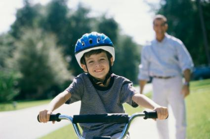 Child riding on bike