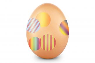 Egg with round stickers