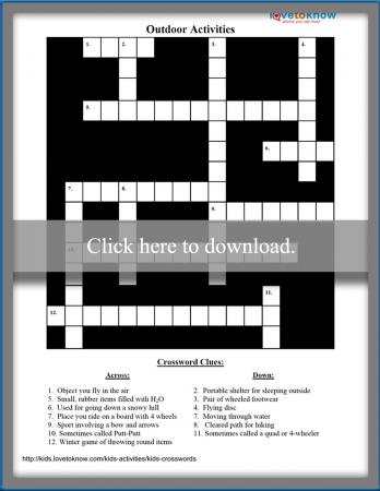 Outdoor Activities Kids Crossword Puzzle