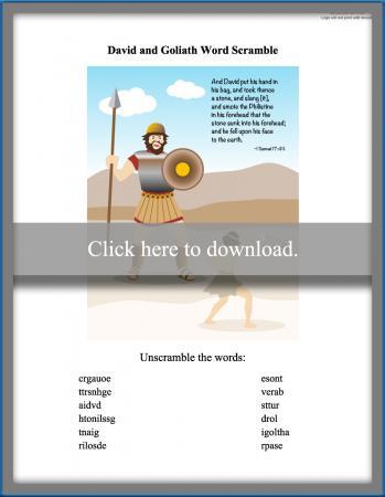 David and Goliath word scramble