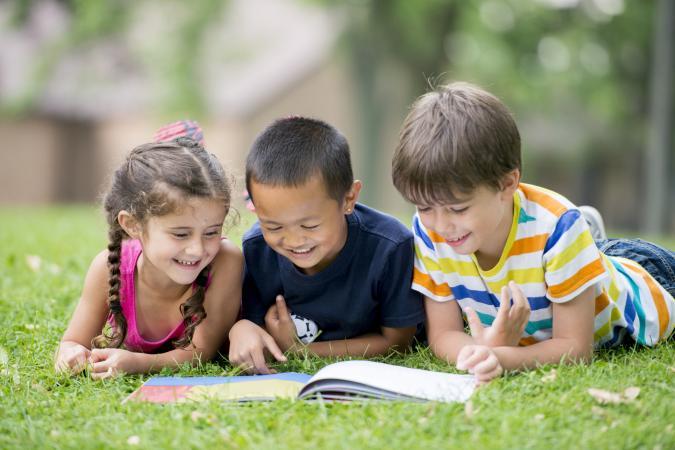 Kids reading poems together