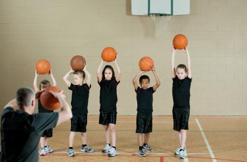 Gym class basketball