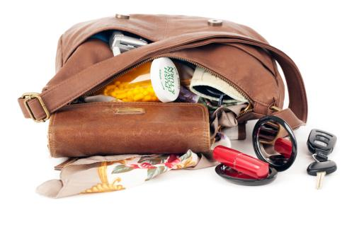 purse with contents spilling out