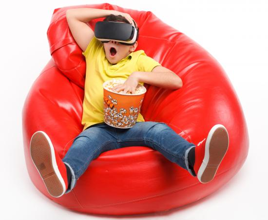 Kid on beanbag with VR
