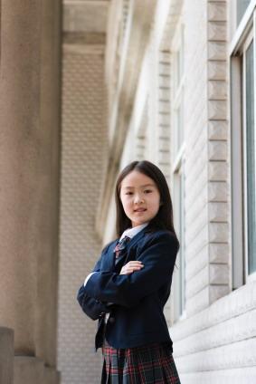 Korean girl in school uniform
