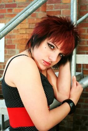 emo girl with dark eye makeup