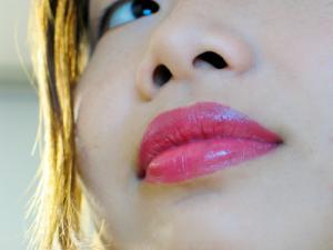 Bold pink lips