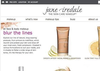 screenshot of jane iredale website