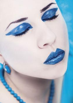 Woman with blue lipstick