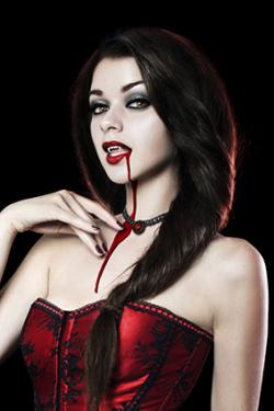 Vampire with blood on mouth