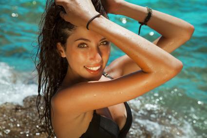 beautiful woman at pool