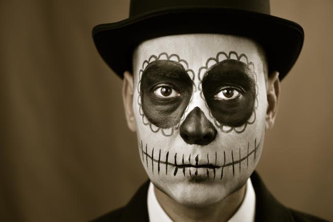 Man with calaveras makeup