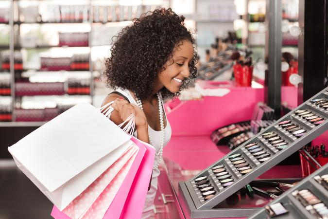 Woman shopping for makeup
