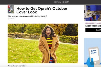 Screenshot of article on Oprah's October Cover Makeup at Oprah.com
