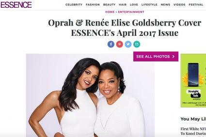 Screenshot of Oprah in essence.com article