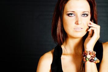 Model in burgundy makeup