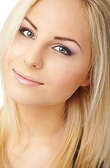 Woman with frosted blonde hair.