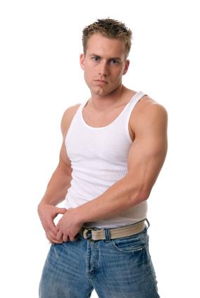 Casual White Tank Tops Fashion for Men with Spike Haircut