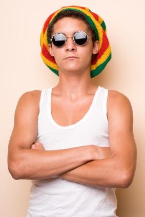 Funny Rasta Hat Fashion Combine with Black Glasses for Men