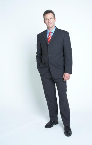 Classy Suits Dress Fashion with Blue Shirt Red Strip Tie for Men in Office