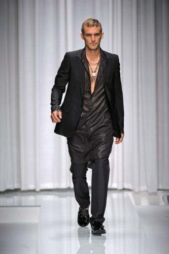 Classic Versace with a Jacket and Short Messy Hairstyle for Men