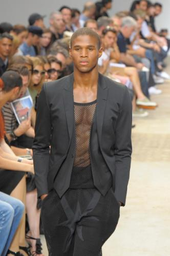 Glam Givenchy Shirt Fashion with Buzz Hairstyle for Black Men in The Club