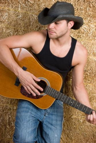 Black Paint Cowboy Hat Fashion with Tank Top and Guitar Style for Men