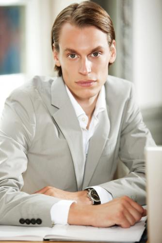 Modern Casual Suit Fashion with Gray Suit Jacket Combine with Crisp White Shirt for Men in Formal Condition