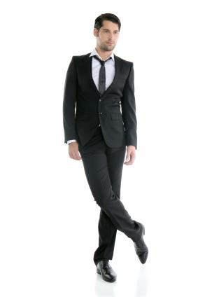 stylish male model in suit