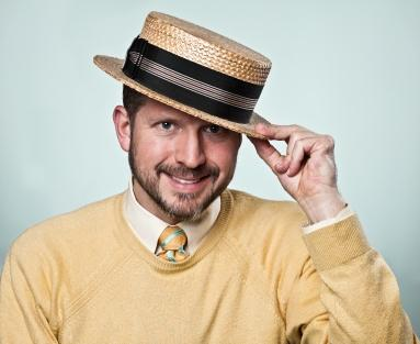 boater hat and vintage sweater