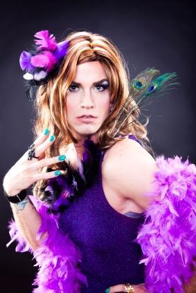 crossdresser in purple dress