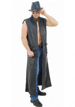 Extra Long Sleeveless Leather Trench Coat