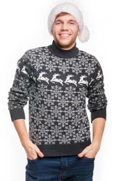Man wearing sweater and Santa hat