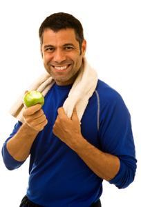 Man wearing moisture wicking shirt