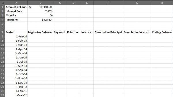 To Create An Excel Amortization Table