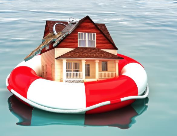 Home floating on a life preserver